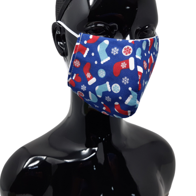 the image shows the stocking design christmas face mask in blue
