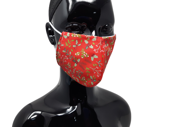 the image shows the holly and the ivy christmas face mask design