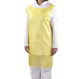 the image shows a person wearing a disposable yellow apron