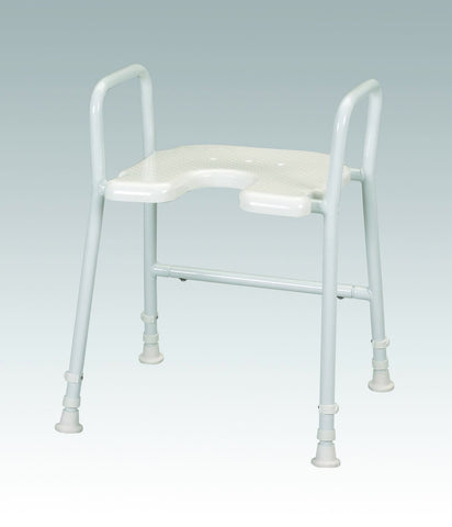 image shows white height-adjustable shower stool with built-in arms
