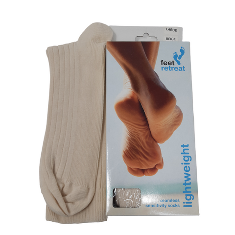 Feet Retreat Lightweight Seamless Socks Beige | Oedema Socks