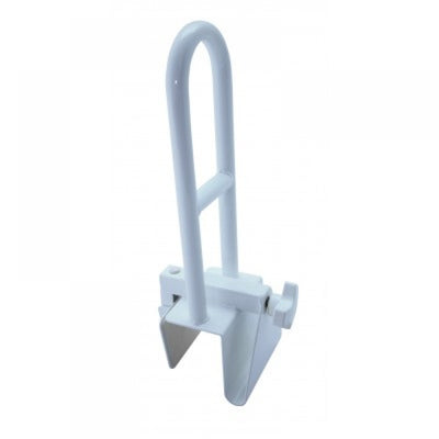 image shows white, clamp-on bath safety grab rail