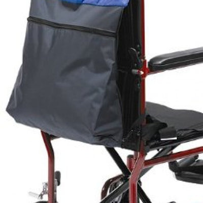 The image shows the Comfort Holdall fitted to a wheelchair