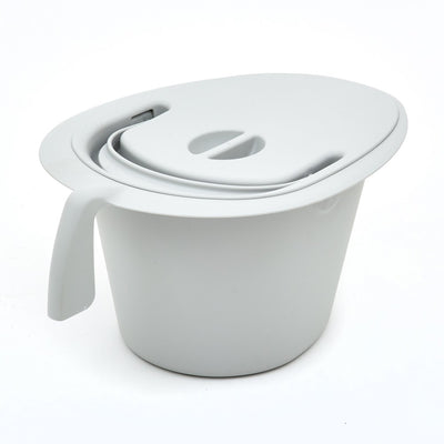 the image shows the commode pan with lid and handle for the etac swift commode chair