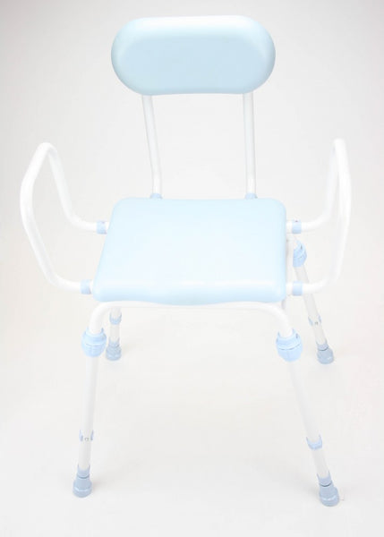 image shows the white and blue compact easy perching stool with arms and padded back