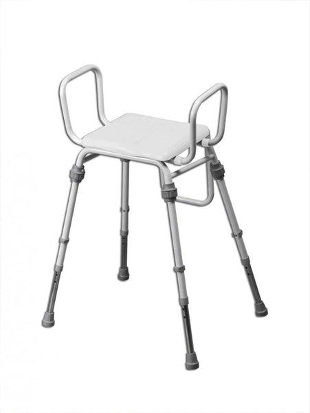 image shows the compact modular perching stool with arms