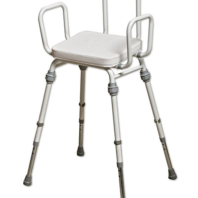 image shows the compact modular perching stool with arms and back