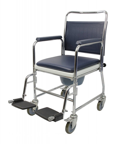 The image shows the Homecraft Chrome Mobile Wheeled Commode Chair with feet