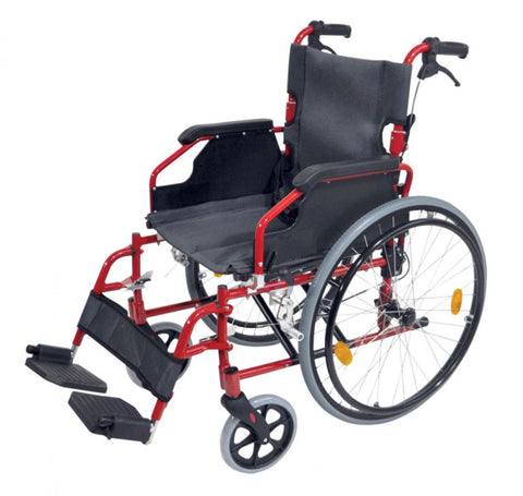 Deluxe-Lightweight-Self-Propelled-Aluminium-Wheelchair Red