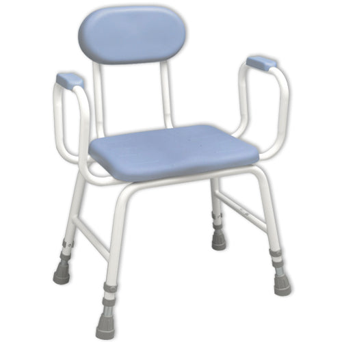 image shows blue and white extra low perching stool