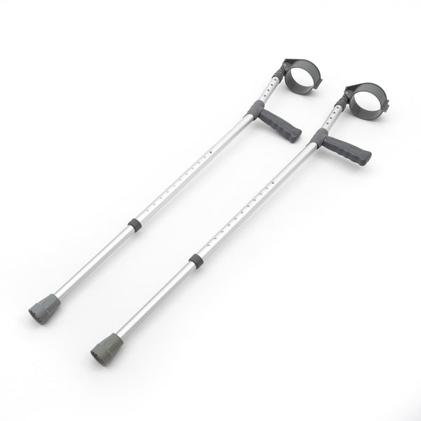 the image shows the double adjustable elbow crutches