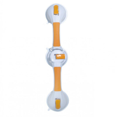 image shows white and gold Dual Rotating Suction Cup Grab Bar with Indicator against a white background