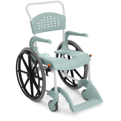 The image shows the Etac Clean Self Propelled Shower Commode Chair in green