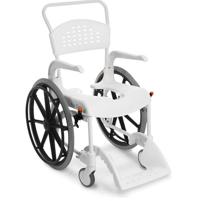 The image shows an Etac Clean Self Propelled Shower Commode Chair in White