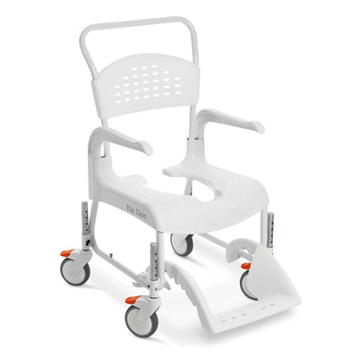 The image shows the Etac Clean Height Adjustable Shower Commode Chair