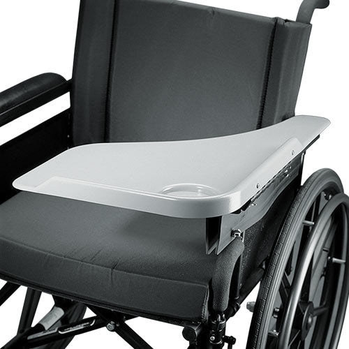 The image shows the grey version of the Wheelchair Flip Away Half Lap Tray