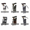 the image shows the six different designs of the folding coloured walking stick