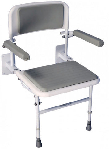 Folding-Shower-Seat-With-Legs Folding Shower Seat with Legs, Padded Seat, Back and Arms