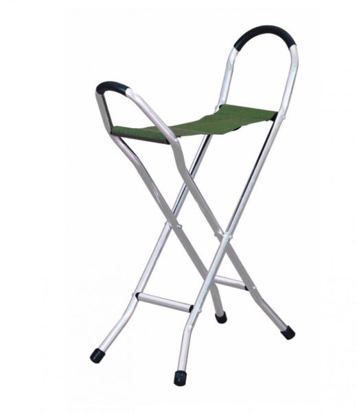 The image shows the folding stick seat when unfolded to show the canvas seat
