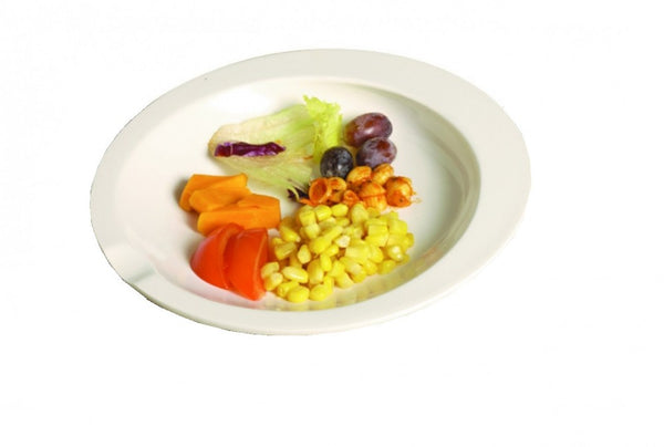 the image shows the GripWare Scoop Dish in white with food on it