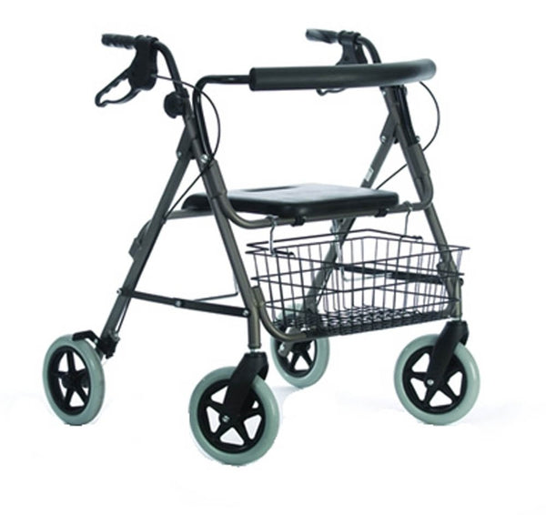 the image shows the heavy duty 4 wheel rollator