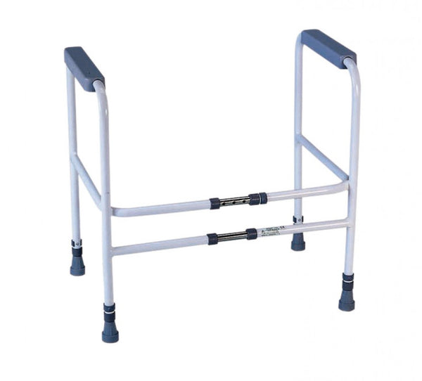 the image shows the height and width adjustable toilet frame