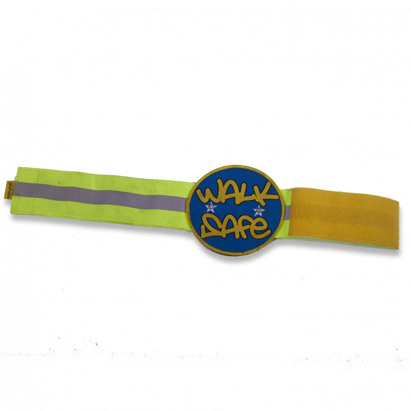The image shows the Hi Vis Reflective Flashing Arm Band in yellow and blue