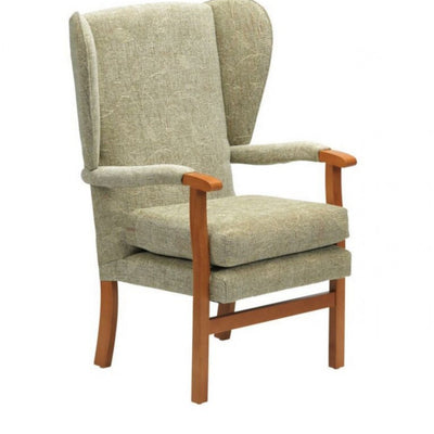 the image shows the sage coloured jubilee high seat fireside chair