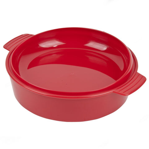 Keep-Warm-Dish-with-lid Red and clear