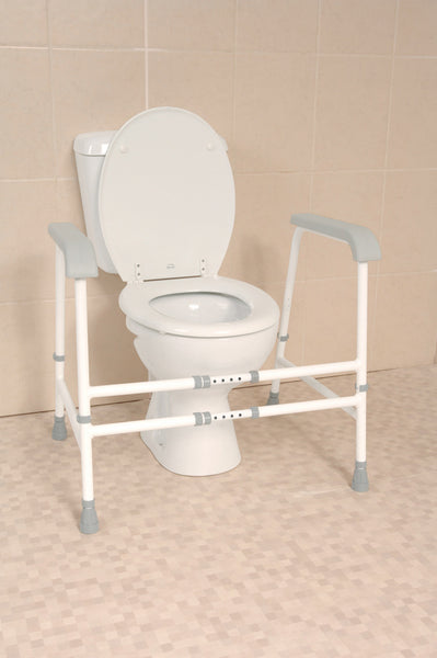 the image shows the nuvo width and height adjustable free standing toilet frame