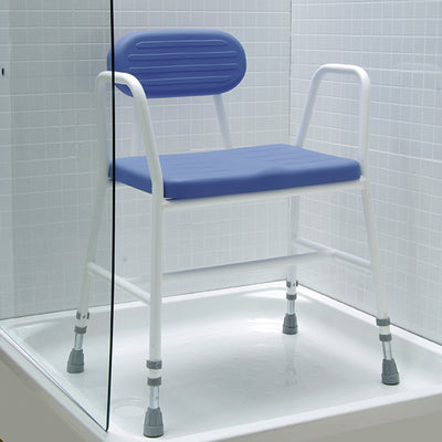 image shows the Polyurethane moulded shower stool in a shower cubicle