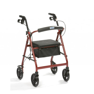 the image shows the red lightweight aluminium 4 wheel rollator with bag