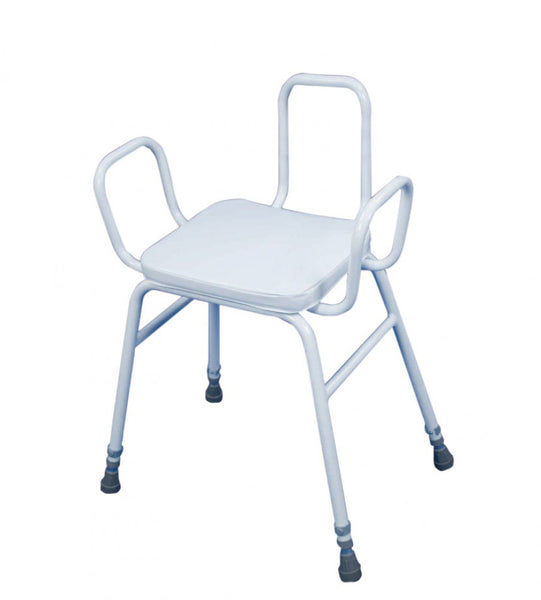image shows the Malvern Perching Stool with Armrests and Backrest