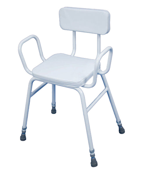 image shows the white Malvern perching stool with armrests and padded backrest