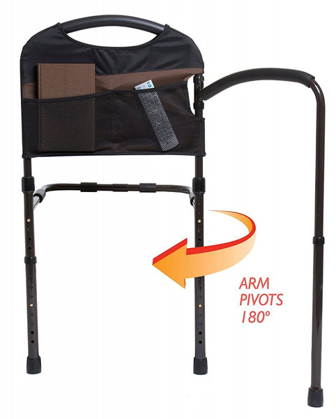 the image shows the mobility bed rail with the pivoting arm that pivots 180 degrees