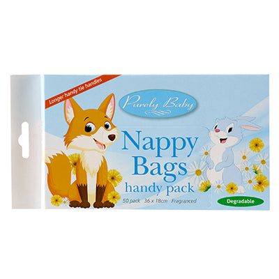 The image shows a pack of Purely Baby Nappy Bags