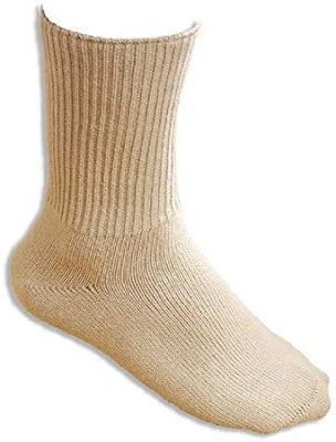 The image shows a beige seamless oedama sock