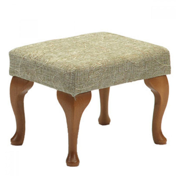 the image shows the sage coloured queen anne footstool