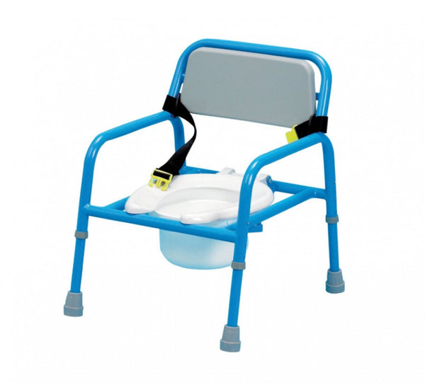 the image shows the paediatric height adjustable commode