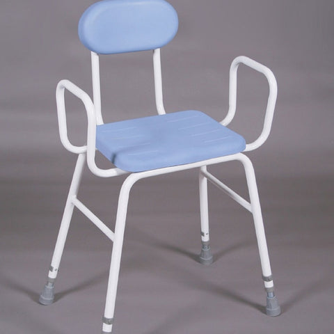 Perching-Stool-with-PU-seat With padded back and arms