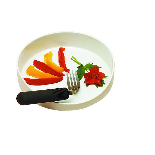 the image shows the GripWare High Sided Dish with a curved fork and some red and yellow peppers