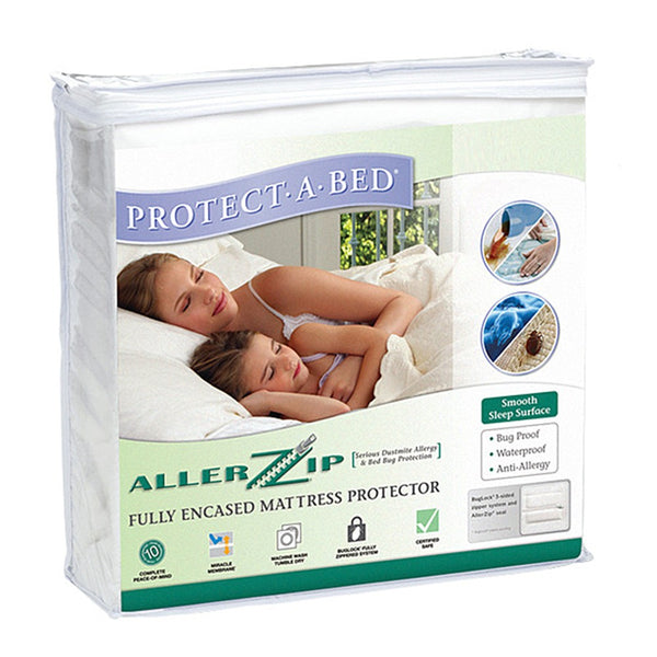 the image shows the protect-a-bed allerzip terry zipped mattress protector
