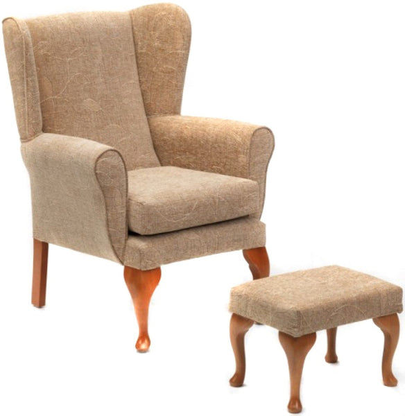 the image shows the biscuit coloured queen anne chair