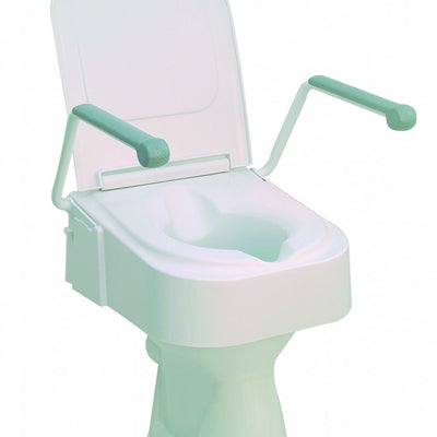 Raised-toilet-seat Raised toilet seat with arms and lid