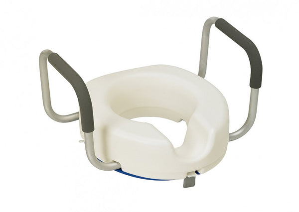 the image shows the raised toilet seat with arms