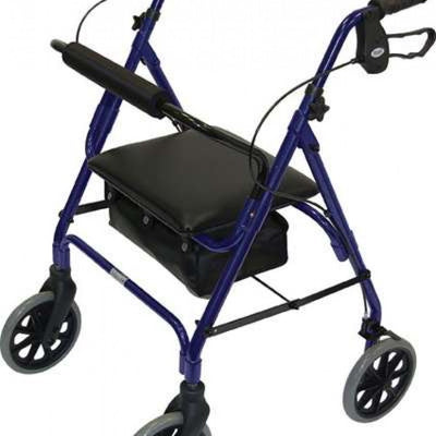 Four-Wheeled-Rollator-with-High-Seat Blue