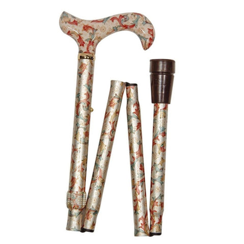Folding Elite Derby Walking Stick, Cream Floral