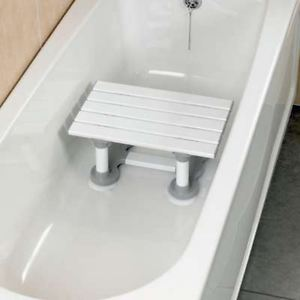 Slatted White Bath Seat
