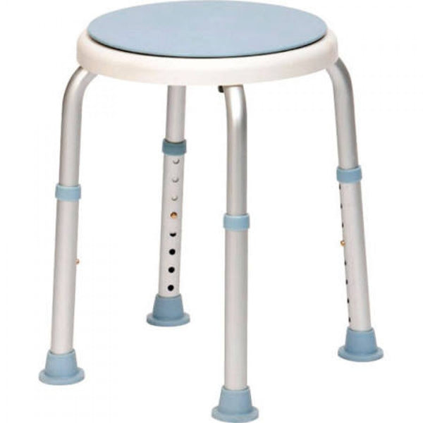 image shows white and blue shower stool with swivelling seat
