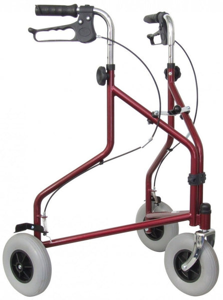 The image shows the Lightweight Steel Tri Walker Rollator in burgundy
